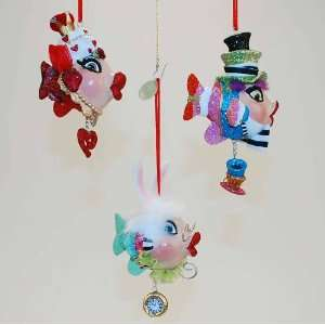 Alice in Wonderland Kissing fish Christmas ornament