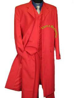 SHARP 45 JACKET LENGTH FASHION 3 PIECES MEN 7 BUTTON ZOOT SUIT RED