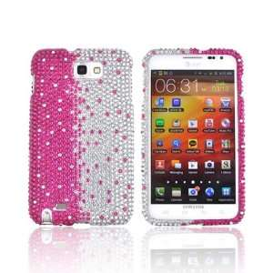 For Samsung Galaxy Note Hot Pink Silver Gems Hard Bling