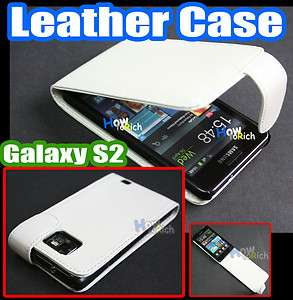 White Flip Leather Case Cover Pouch for Samsung Galaxy S2 S 2 ii i9100