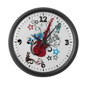Large Wall Clock Rock Guitar Music