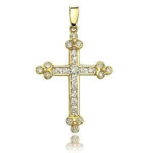 0.75 Carat Round Cut 14K Yellow Gold Diamond Bottony Cross