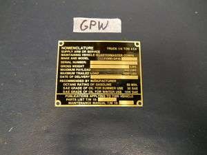 Jeep Willys FORD GPW 42 43 Brass nominclature plate