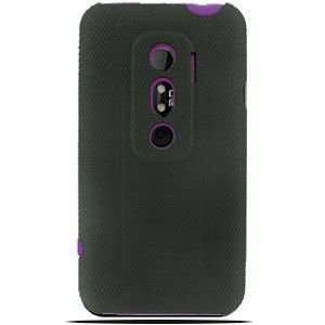 HTC Evo 3D Gripped Armor Case (Black/Purple) Cell Phones