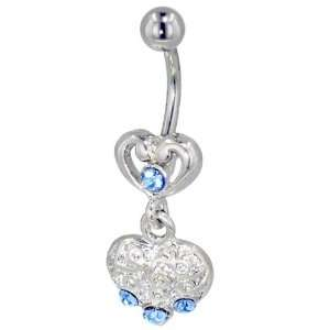 Light Blue Crystals Belly Navel Ring Body Jewelry Pugster Jewelry