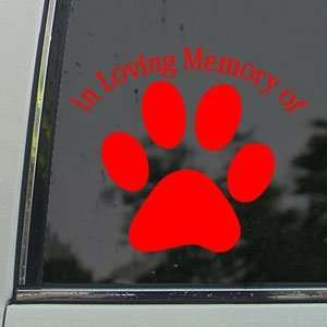In Loving Memory Dog Paw Red Decal Truck Window Red