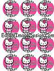 HOT PINK ZEBRA PRINT HELLO KITTY Edible Cupcake Image Topper Party