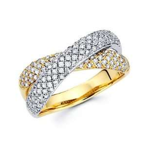 Tone Gold Diamond Cross Over Ring Band .86 ct (G H Color, I1 Clarity