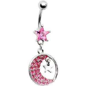 Pink Gem Crescent Moon Star Belly Ring Jewelry