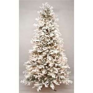 Pre Lit Flocked Snow Covered Wide Christmas Tree
