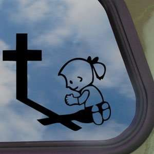 Girl Praying At Cross Black Decal Truck Window Sticker