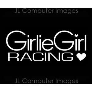 GIRLIE GIRL RACING WHITE DECAL 6 X 3