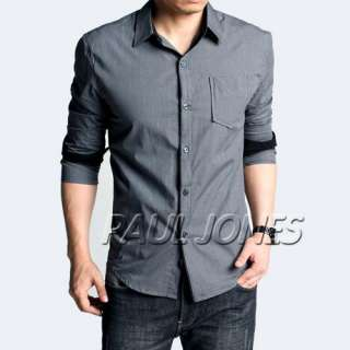 Mens slim fit luxury cotton Casual/Dress shirt best gifts Grey