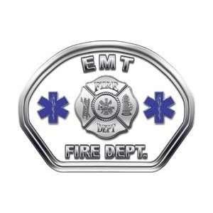 Firefighter Fire Helmet Front Face EMT White Decal