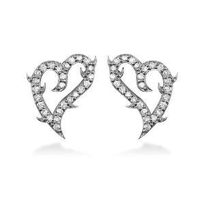 Mini Guarded Love Diamond Heart Earrings in 18K Sziro