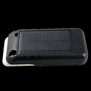 2400mAh Black Solar Powered Portable Battery Charger Case for iPhone 4