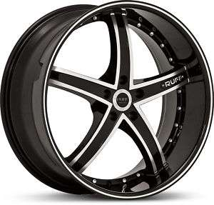 NEW 22x9 RUFF RACING R953 BLK.MACHINED 5X115 WHEELS