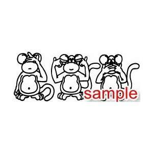 ANIMAL THREE MONKEYS WHITE VINYL DECAL STICKER Everything