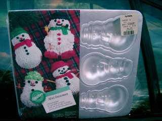 WILTON 1992 2105 472 6 MINI SNOWMEN CAKE PAN NEW SEAL