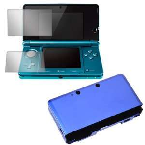 Blue Aluminum Hard Metal Cover Case + Clear LCD Screen Protector Film