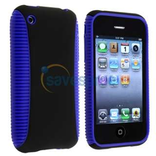 HYBRID Blue TPU Rubber CASE Black Hard COVER+Privacy LCD Film For