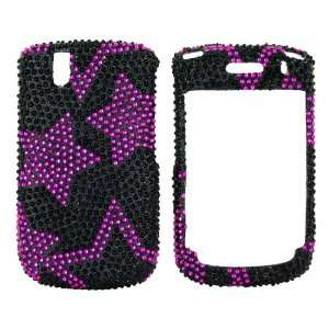 For Blackberry Tour Bling Hard Case Hot Pink Stars Gems