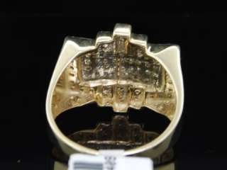 MENS YELLOW GOLD DIAMOND PINKY RING PAVE BAND HUGE FACE