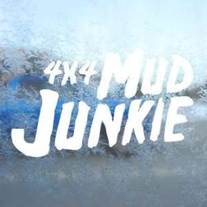 4x4 Mud Junkie White Decal Car Laptop Window Vinyl White