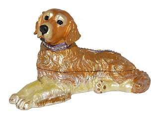 Crystal Bejeweled Golden Retriever Dog Collectable Trinket Box