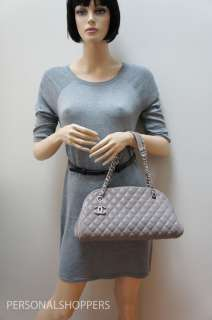 LOVELY CHANEL JUST MADEMOISELLE JM TAUPE CAVIAR LEATHER BOWLER BAG