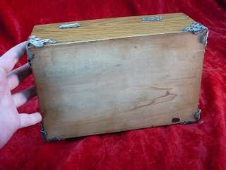 Antique 1880s AMERICAN OAK CIGAR BOX HUMIDOR Metal Lined Trimmed