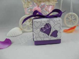 Romantic Heart Ribbon couple Wedding Favor Candy Boxes Gift Box