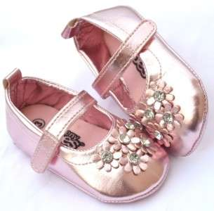 Silver pink flower Mary Jane toddler baby girl shoes size 3 12 months