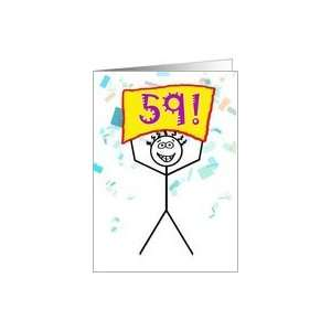 Happy 59th Birthday Stick Figure Holding Sign Card Toys & Games