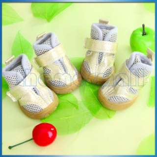 Gray & Golden Dog Pet Puppy PU Leather Mesh Shoes Boots