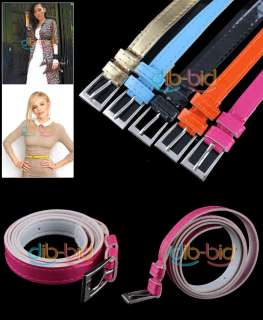 Candy Cute Fashion Sweet Color Girl Women Skinny PU Leather Thin Belt