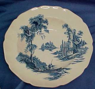JOHNSON BROS THE OLD MILL BLUE RIMMED SOUP BOWL /S