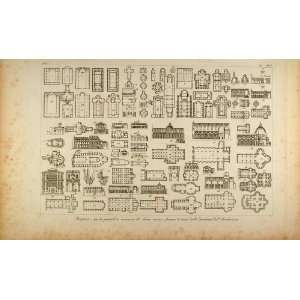 Floor Plan Building   Original Copper Engraving