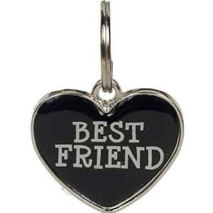 Closet 18 mm Black Enamel Heart BEST FRIEND Tag Charm, ColorSilver