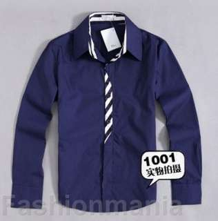 Mens Casual Slim Fit Dress Shirts 2 Color 3 Size J74