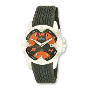 Croton Mens Sport Automatic Black Silicon Band Orange Dial Watch