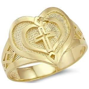 Size  8.5   New Solid 14k Yellow Gold Heart Cross Ladies