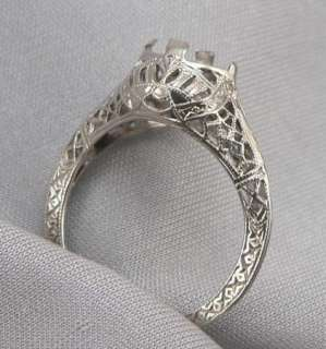 Antique ART DECO 14K White GOLD Filigree RING MOUNTING SETTING Size 6