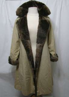 Creations Elegant Muskat Faux Fur Lining & Trim Belted Coat/L