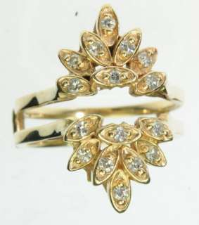 SOLID YELLOW GOLD DIAMOND CLUSTER ENHANCER ESTATE RING J209173