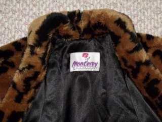 Vtg Monterey Plush Faux Fur Animal Print Swing Coat L