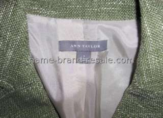 ANN TAYLOR SAGE GREEN TWEED BLAZER JACKET WOMENS SIZE 4