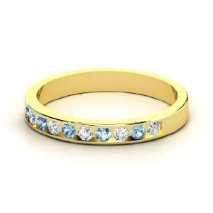 Slim Band, 14K Yellow Gold Ring with Diamond & Blue Topaz Jewelry