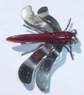 ART DECO CHROMED CARVED BAKELITE RHINESTONE DRAGONFLY BROOCH