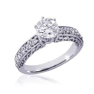 1 Ct Round Diamond Engagement Wedding Ring Vintage 14k